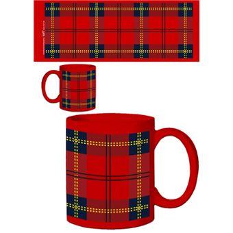 Dessins Tasse à Café Mug Dessin Carreaux Tartan écossais Rouge 9x8 Cm