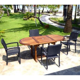 ensemble de jardin table teck 120-180 cm et 4 fauteuils ...