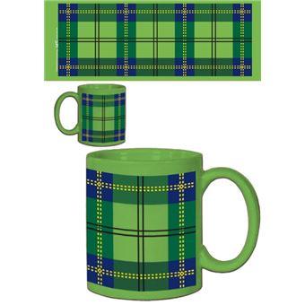 Dessins Tasse à Café Mug Dessin Carreaux Tartan écossais Vert 9x8 Cm