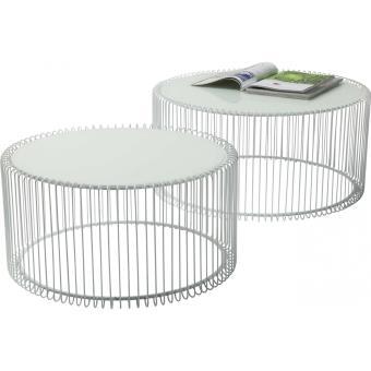 Table Basse Kare Design.Table Basse Ronde Wire Blanche 2 Set Kare Design