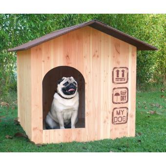 niche pour chien en bois douglas alsace taille m toit shingle rouge tuile l niches cages. Black Bedroom Furniture Sets. Home Design Ideas