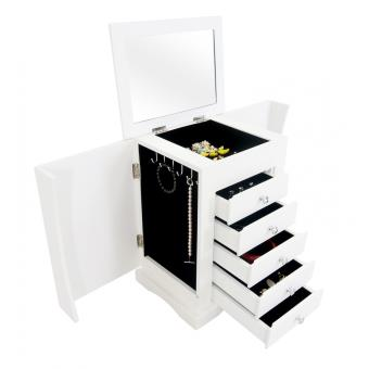 Meuble bijoux avec tiroirs et miroir int gr petit meuble blanc design achat prix fnac - Meuble rangement bijoux miroir ...