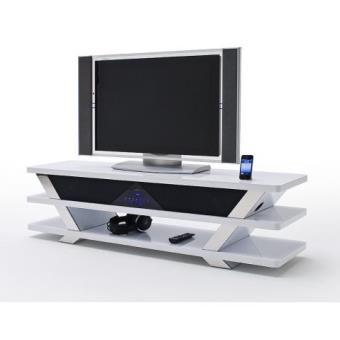 Meuble Tv Home Cinema Integre Blanc Laque Delta Meuble Tv Achat
