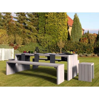 Salon de jardin en bois brut 8 places Linéa Déco - Mobilier ...