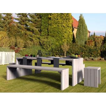 Salon de jardin en bois brut 8 places Linéa Déco - Mobilier de ...