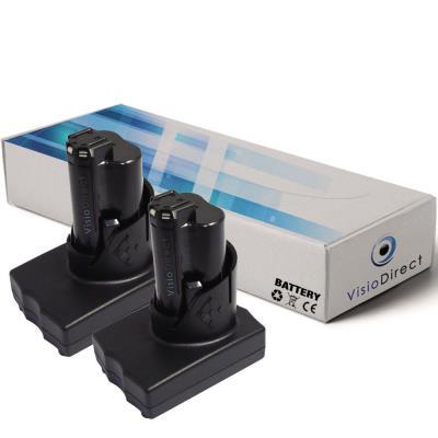 Lot de 2 batteries pour AEG Milwaukee 2454-22 clé à chocs 3/8 po 3000mAh 12V - Visiodirect -