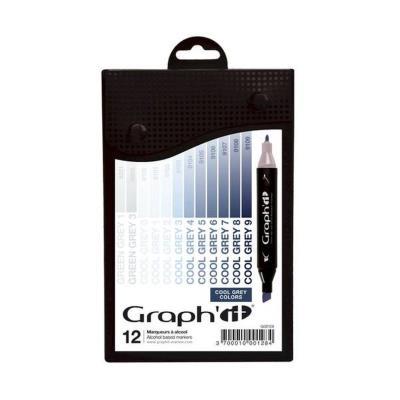 Set 12 Marqueurs à alcool Graph'it - Cool Greys colors - Graph it