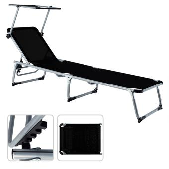 chaise longue transat pliant petit parasol soleil dossier jardin noir plage achat prix fnac. Black Bedroom Furniture Sets. Home Design Ideas