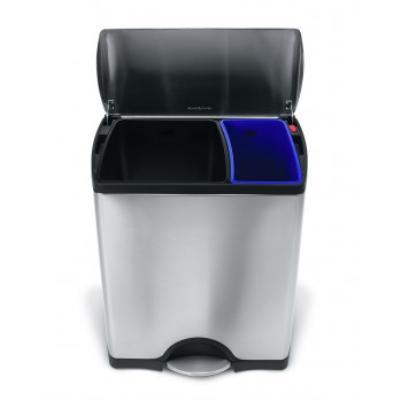 Poubelle rectangulaire acier inox brossé anti-traces à pédale SimpleHuman - CW1830 - Acier inoxydable - Rectangulaire - 30 l / 16 l - Inox brossé