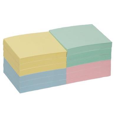 Bloc note repositionnable 76x76mm coloris pastel - Lot de 12