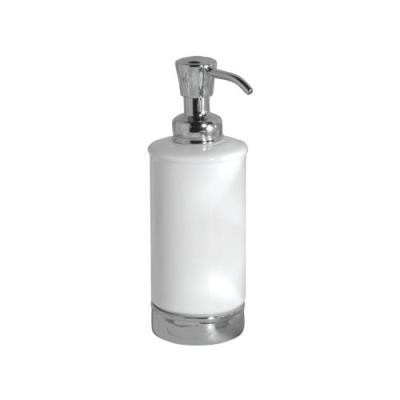 Interdesign york, distributeur de savon en céramique avec pompe pour cuisine, coiffeuse de salle de bains - blanc / chrome