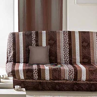 Douceur d'intérieur 1604268 housse clic clac mat + bande socle polyester imprimé serpentine polyester choco 140 x 120 x 140 cm