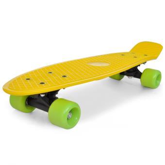 vidaXL Skateboard Rétro Jaune avec Roulettes Vertes 6,1