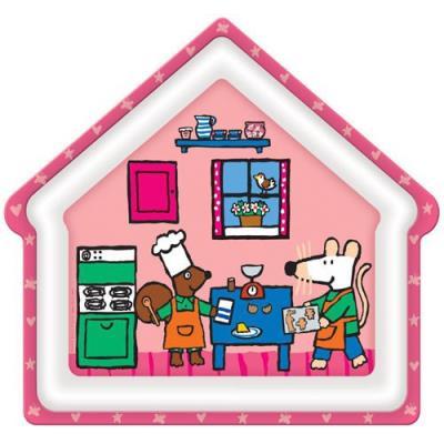 Petit Jour - Assiette en forme de maison rose Mimi la souris