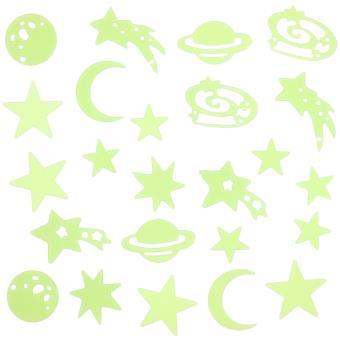 Lot Decor Lune Planete Etoile 24 Decorations Phosphorescentes