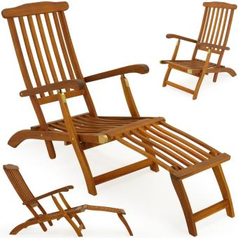 Chaise longue en bois Queen Mary - Transat Bain de Soleil Jardin ...