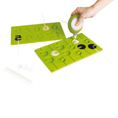 Set moules à sucettes en silicone vert kitchen artist men316