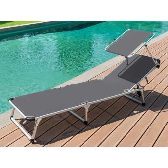 transat avec pare soleil chypre ardoise mobilier de jardin achat prix fnac - Transat Soleil