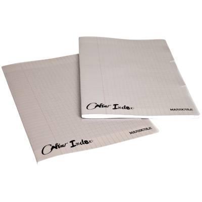 Cahier piqûre 96 pages, 3 index, couverture polypropylène, format : 24 x32 cm, seyes, 90g gris