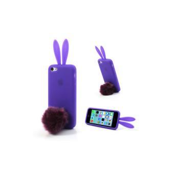 Coque Lapin iPhone 5C Violette en silicone avec Support