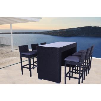Soleil jardin salon de jardin bar 6 places encastrables phuket noir mobilier de jardin achat - Salon de jardin bar ...
