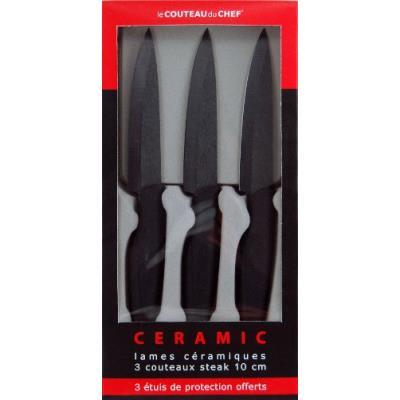 Tarrerias bonjean 1305151542 le couteau du chef set de 3 couteaux steak lame céramique noire 10 cm manche ergonomique soft touch