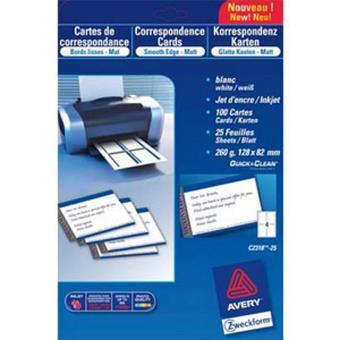 Pochette De 100 Cartes Visite Format 85 X 54 Cm 220g QuickClean Laser Couleur Monochrome Finition Mate Chemise Sous Et Rabat