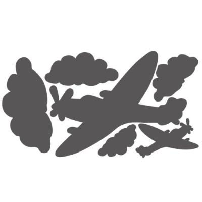 wallcandy arts - sticker ardoise repositionnable avions - gris