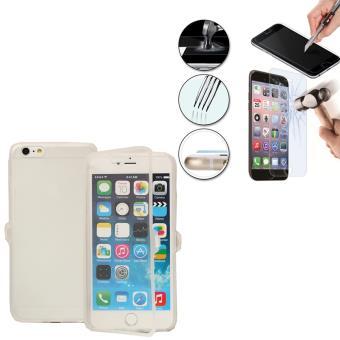 Apple iPhone 6 Plus 6s Plus Coque silicone gel Livre rabat Film Vitre Trempe couleur Transparent