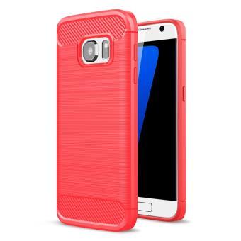 Coque TPU Carbon Fibre brossé pour Samsung Galaxy S7 SM-G930 - Rouge