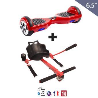 gyropode 6 5 pouces hoverkart rouge bluetooth hoverboard rouge skateboard lectrique. Black Bedroom Furniture Sets. Home Design Ideas