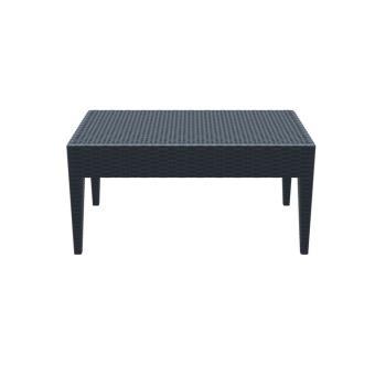 Table basse de jardin rectangle étanche en plastique gris foncé ...
