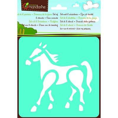Pochoirs - Set de 6 pochoirs : Animaux de la ferme