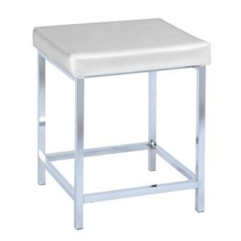 Tabouret de salle de bain deluxe square, white - blanc/chrome