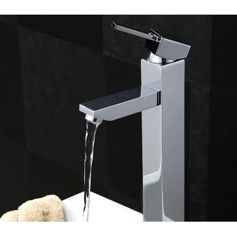 mitigeur de lavabo chrom robinet mitigeur salle de bain design en laiton et zinc grande hauteur sous bec 235 mm cartouche cramique robinetterie