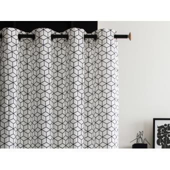 rideau oeillets tamisant 100 coton motif cube rosace. Black Bedroom Furniture Sets. Home Design Ideas