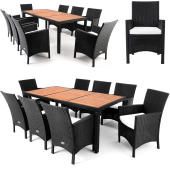 Salon de jardin 17 pcs - Ensemble table 8 chaises Alu Polyrotin Bois ...