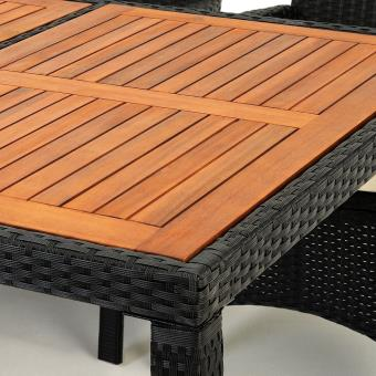 Salon de jardin 17 pcs - Ensemble table 8 chaises Alu Polyrotin Bois ...