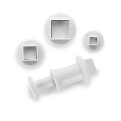 Ibili 788405 lot de 3 emporte-pièces avec poussoir carré