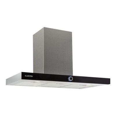 Klarstein Matthea - Hotte - hotte décorative - largeur : 90 cm - profondeur : 52.5 cm - evacuation & recyclage - inox et verre noir