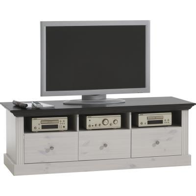 Meuble TV avec 3 tiroirs en pin blanc - Dim : 145 x 56 x 49 cm -PEGANE-