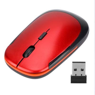 Souris ultra-mince USB 2.4G 1200DPI souris optique ergonomique positionnement optique pour ordinateur portable rouge