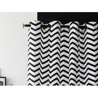 rideau oeillets tamisant 100 coton motif chevron noir. Black Bedroom Furniture Sets. Home Design Ideas