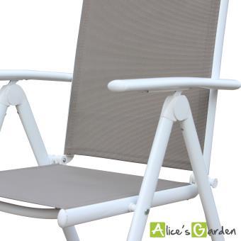 Salon de jardin Naevia 8 places en aluminium et textilène - Alice\'s ...
