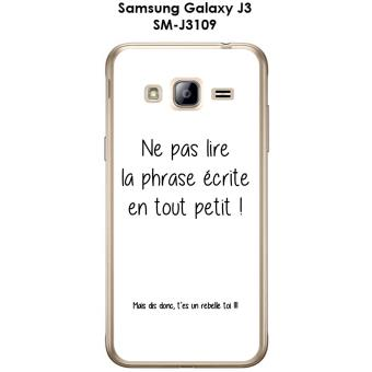 coque samsung galaxy j3 sm j3109 design citation rebelle texte noir fond blanc etui pour. Black Bedroom Furniture Sets. Home Design Ideas