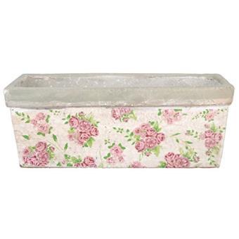 Esschert Design Pot De Fleurs Pour Balcon A Imprime De Roses 40 X 15