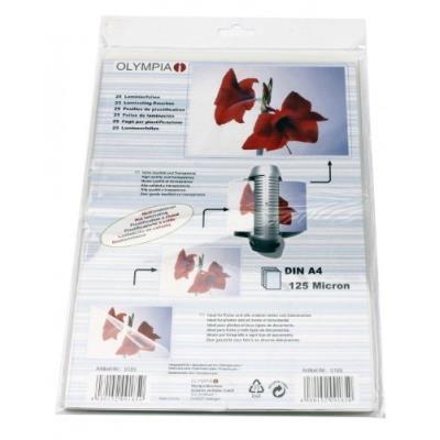 Pochettes de plastification à chaud, din a4, 125 microns, 25 pochettes tansparentes olympia 9185
