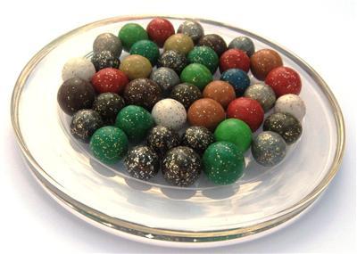 20 Billes en terre Festive de type Mini-Bille en mélange de couleurs - Jeu de Plein Air et de cours de récréation