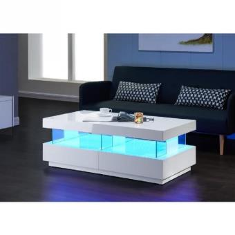 Table Basse A Led.Light Table Basse 120cm Laquee Blanc Brillant Led Multicolore