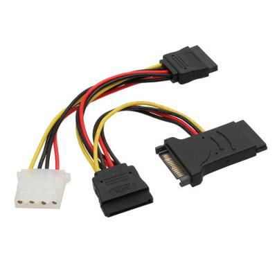 Câble adaptateur d'électricité SATA, InLine, SATA mâle/fem, à 2x SATA mâle + 5,25 St